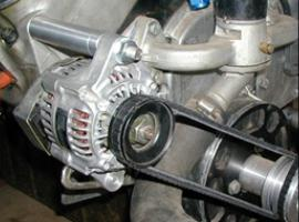 BBC with Super Mini Denso Alternator on Pass Side Head